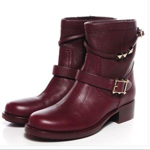 Valentino Rockstud Rouge Absolute Moto Boot